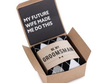 Groomsmen Proposal Gift Box, Label and Socks, Groomsman Tie Gift Box, Nip & Shot Glass Gift Box, Groomsmen Gift Socks with Gift Box