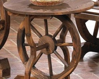 Rustic Fir Wood And Iron Wagon Wheel Accent Table