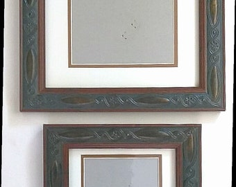 """Pair of Metal Ornate Picture Frames with Matting 10"""" x 8"""" and 5"""" x 7"""""""