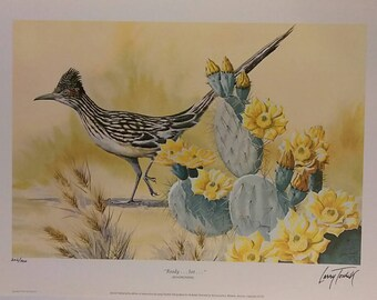 """Signed 1971 """"Ready...Set...-Roadrunner"""" by Larry Toschik Lithograph Print 16 x 12"""