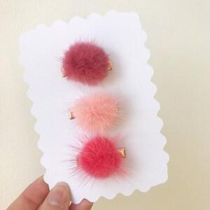 Brown Fur Pom Pom Hair Clips Scarf Clips Shoe Clips Set of 2