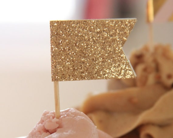 Gold Glitter Cupcake Toppers, Pink and Gold Baby Shower, Wedding Toppers