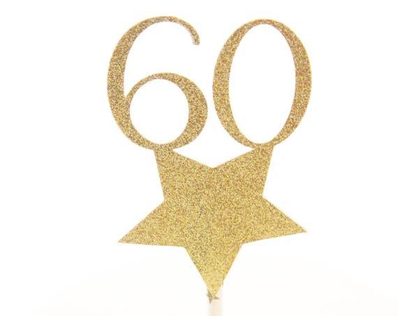 60th Birthday Cake Topper, Glitz and Glam Star Topper