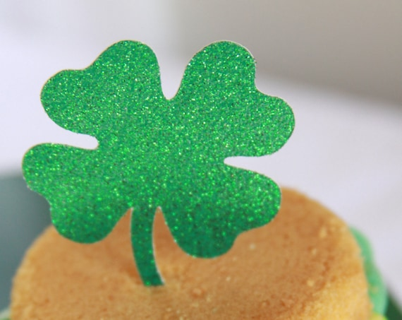 Four Leaf Clover Toppers, St Patrick's Day Party, Shamrock Cupcake Toppers, St Pattys Day, Derby Party, Birthday, Glitter, Lucky Day Gift