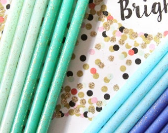 Mermaid Birthday Candles, Green and Blue Glitter Birthday Candles, Tall Skinny 30th Birthday Candles, Party Supplies, Bookish, Under the Sea
