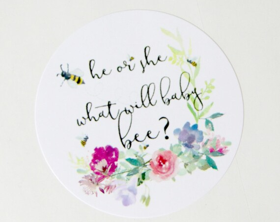 He or She What Will Baby Bee Stickers, Gender Reveal Ideas, Gender Reveal Invite Seals