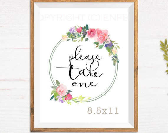 Favor Table Sign, Please Take One Sign,  Bridal Shower Sign,  Downloadable File Only, Thin Wreath Floral Favors Sign