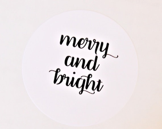 Merry and Bright Christmas Stickers, Holiday Stickers,  Christmas Card Seals