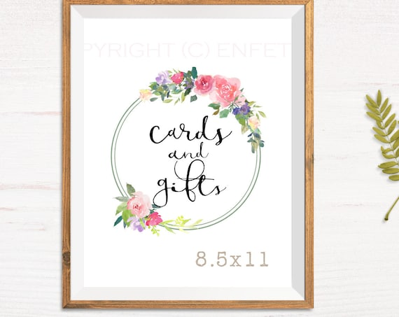 Wedding Cards and Gifts Sign, Printable Gifts Sign, Gift Table Sign, Floral Roses Wreath Motif