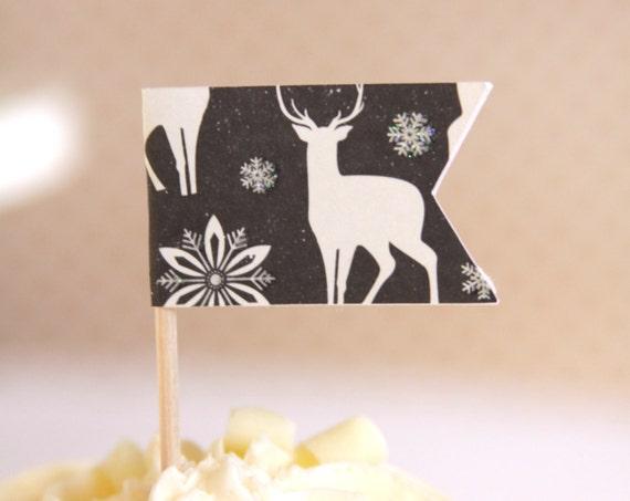 Nordic Deer Cupcake Topper, Black and White Scandinavian Christmas Decor