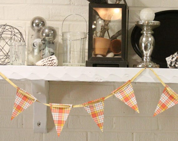 Fall Garlands Decorations, Fall Mantle Garland, Fall Photo Prop Idea, Candy Corn Decor Plaid, Fall Decorations for Party, Halloween Banner