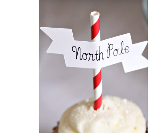 North Pole Cupcake Toppers, Christmas Cake Topper, Peppermint Stick, Hot Chocolate Bar Idea, North Pole Straws
