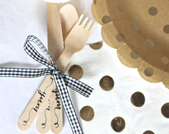 Rustic Wedding  Decor, Tableware, Wooden Cutlery, Cutlery Sets, I Do BBQ, Baby Q Party Supplies