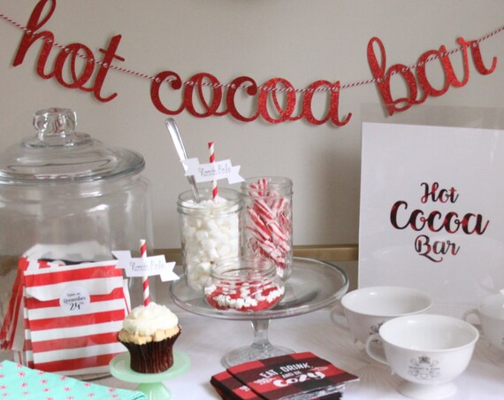 Hot Cocoa Bar Sign, Hot Chocolate Bar Banner, Lumberjack Party Ideas, Christmas Party Sign, Love is Brewing