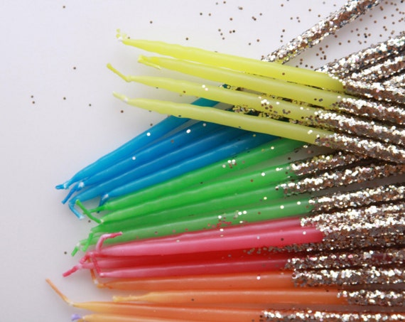 Choose Your Color - Glitter Dipped Birthday Candles - Gift for Her - Rainbow Candles - Party Decor  - Fiesta - Baking Supplies
