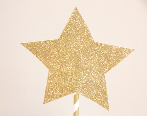 Gold Star Cake Topper, Star Centerpiece, Moon and Stars Baby Shower, Twinkle Twinkle Little Star Banner