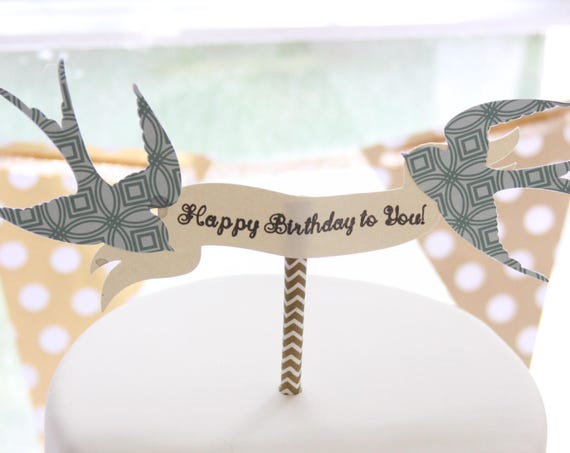 Adult Cake Topper, Swallow, Happy Birthday, Personal Cake Topper, Moms Birthday Cake , Boho Birthday, Grandmas BDay Cake Topper