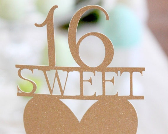 Rose Gold Sweet 16 Cake Topper, Sixteen Cake Pick, Gold Glitter with Heart, Sweet 16 Decor, 16 Year Old Birthday, 16th Birthday, Gold Bling