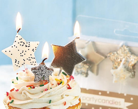 Silver Star Candles, Disco Party Birthday Party Decorations, Glitter Birthday Candles, Party Supplies, Birthday for Her, Roaring 20s Bash