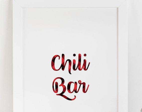 Chili Bar Sign, Lumberjack Shower Printable, Buffalo Check Party Supplies