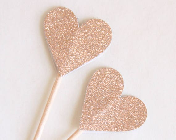 Rose Gold Heart Toppers, Rose Gold Bridal Shower, 30th for Her, Engagement Party, Wedding Toppers, Valentine Treats