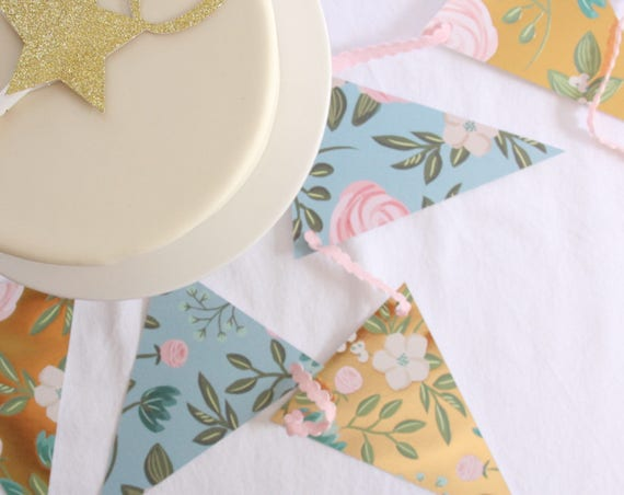 Shabby Chic Baby Shower Banner, Boho Bridal Shower, Rustic Floral Wedding Bunting