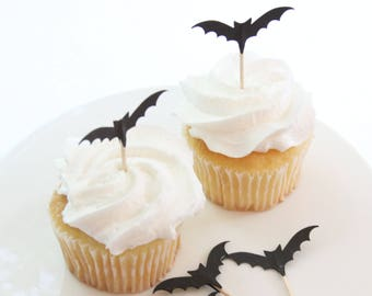 Spooky Bat Toppers, Halloween Birthday Decorations, Halloween Decor, Cupcake Ideas for Kids, Fall Party Decor, Bat Cupcake Topper