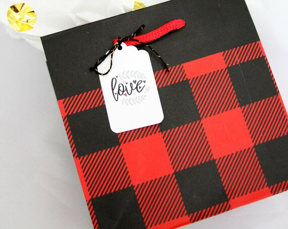 Buffalo Plaid Gift Bag, Lumberjack Party Favor, Buffalo Plaid Treat Bags, Christmas Gift Bags, Buffalo Check Tissue Paper