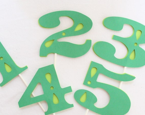 Green Number Cake Topper, Dinosaur Party, Birthday Cake Topper for a Boy, 1, 2, 3, 4, 5, 6, 7, 8, 9, 0,
