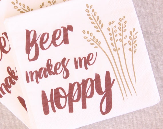 Beer Tasting, BBQ, Beverage Napkins, Picnic Napkins, Couples Shower, flannels and fizz, 21st Birthday for Him, Birthday Party Decorations