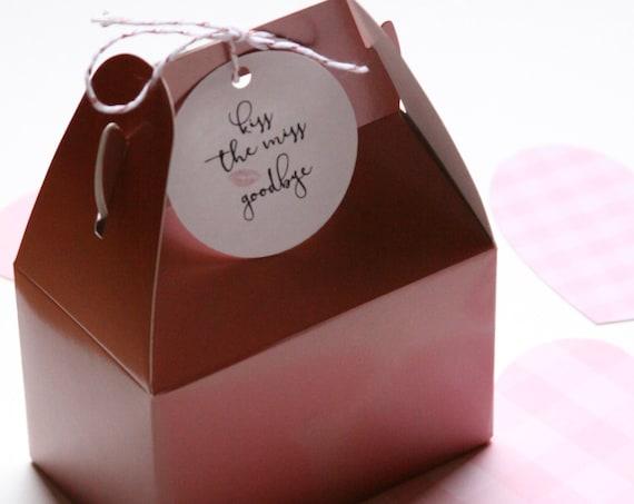 Rose Gold Mini Gable Boxes, Kiss the Miss Goodbye Favors, Bridal Shower Favors,4x2.5x2.5,  Bath Bomb Packaging,