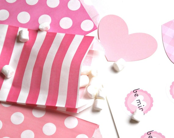 Galentine Party, Valentine Treats, Pink Polka Dot Favor Bags, Pink Striped Treat Bags
