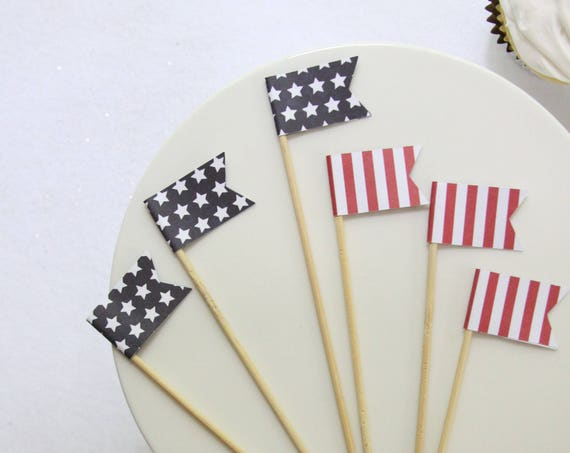 Hoagie Picks, Stars and Stripes Patriotic Sandwich Picks, Welcome Home Military,  Patriotic BBQ Decorations,  Red White and Blue