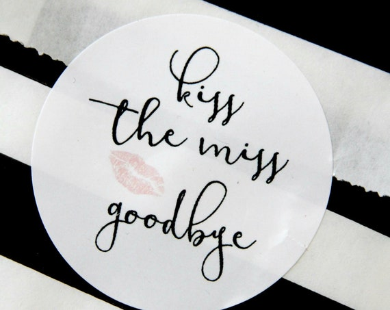Kiss the Miss Goodbye Bridal Shower Favors, Stickers, Invitation Seals, Pink and Rose Gold