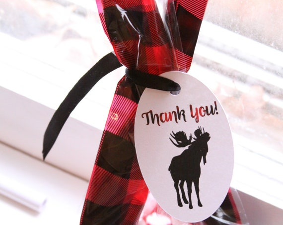 Buffalo Plaid Treat Bags, Lumberjack Party Favor Boxes, Christmas Cookie Bags, Buffalo Check Packaging