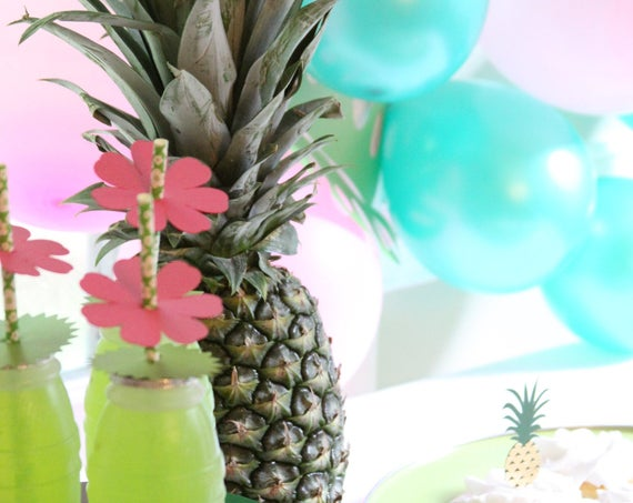 Moana Party, Tropical Drink Straws, Luau Cocktail Stirrers, Pineapple Bridal Shower, Summer Fiesta , Moana Birthday Party Decorations