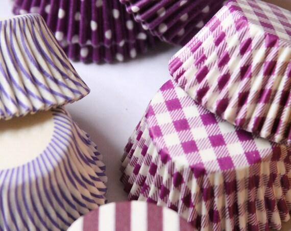 Purple Cupcake Liners, Gingham Baking Supplies, Burgundy Wedding Cupcake