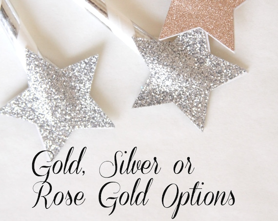 Twinkle Twinkle Little Star Party, Star Cake Topper, Gold Glitter Starry Night Party, Old Hollywood Party, Rose Gold, Silver, Moon and Stars