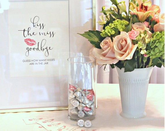 Kiss the Miss Goodbye Bridal Shower Games, Chocolate Kisses Stickers and Sign, Candy Stickers
