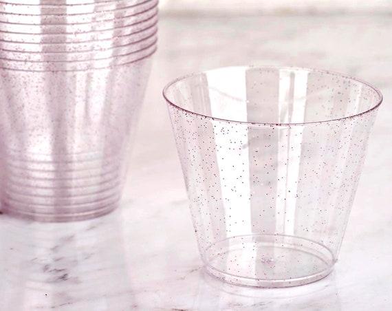 Glittered Cocktail Glasses, Set of 12 9 oz, Bridal Shower Cups