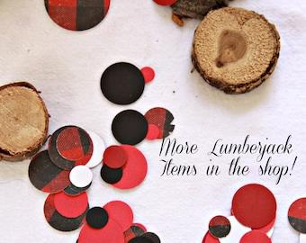 Lumberjack Party Confetti, Buffalo Plaid Party, Lumberjack Birthday, Red and Black Buffalo Check, Lumberjack Decor Ideas, Woodland Party