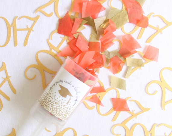 Graduation Confetti Poppers, Favors, Confetti Push Pops, College, Confetti Poppers, School Colors, Party Poppers, Graduation Gift Ideas