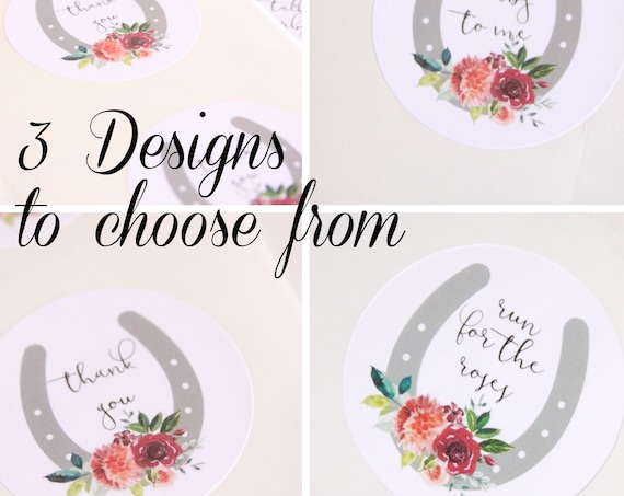 Talk Derby to Me Stickers, Kentucky Derby, Horseshoe, Thank You Labels, Bridal Shower Favor Labels, Thank You Gift, Rose, Equestrian Wedding
