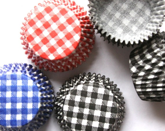 Cupcake Wrappers, Christmas Cupcake Liners, Gingham Plaid, Baby Q, BBQ, Baking Supplies, I Do BBQ, Valentine Treats