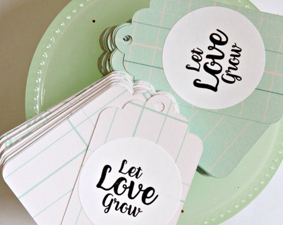 Let Love Grow Tags, Mint and Blush Wedding Favor Tags