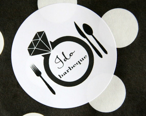 I Do BBQ Stickers, Rehearsal BBQ, Couples Shower Favors, Cutlery Packet Labels, Invitation Seals