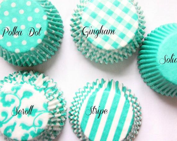 Teal Cupcake Liners, Gingham Baking Supplies, Breakfast at Tiffanys Cupcakes, Last Splash and Mermaid Party Supply