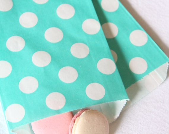 Aqua Polka Dot Treat Bags, Breakfast at Tiffany's Bridal Shower Gift Bags, Baby and Co, Mermaid Party Favors