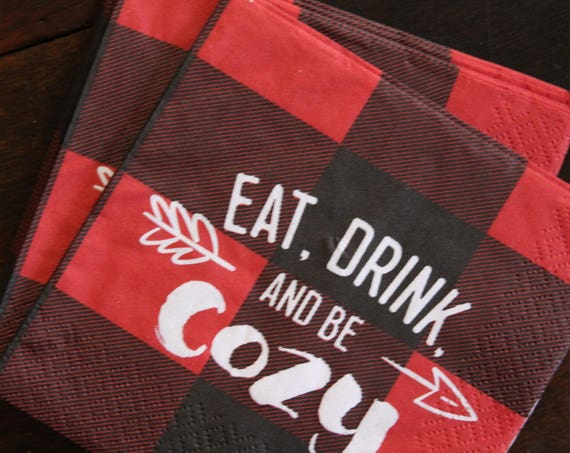 Buffalo Plaid Napkins, Lumberjack Birthday Decorations,  Hot Cocoa Bar, Flannel and Fizz, Buffalo Check, Baby Shower