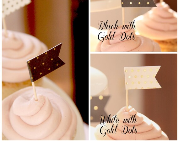 Great Gatsby Party, New Years Eve Cupcake Toppers, Black and Gold Elegant Engagement Party